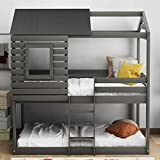 Merax Twin Over Twin Bunk Bed, Wood Bunk Loft Bed Frame with Roof, Window, Guardrail, Built-in Ladder for Kids, Teens, Girls, Boys (Gray)