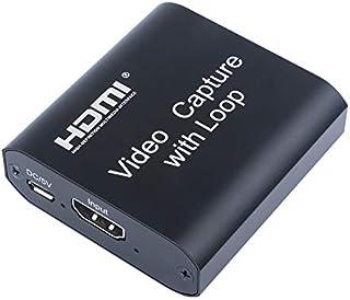 Capturadora de vídeo HDMI, USB 2.0 Tarjeta de Captura de Audio con Salida de Bucle HDMI 1080P Portátil HD Video Grabador Dispositivo Video Live Grabación
