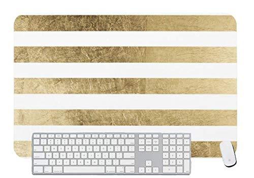 Alfombrilla de ratón para juegos elegante y elegante, de color dorado de imitación a rayas modernas para escritorio y portátil, 1 paquete de 1000 x 500 x 3 mm
