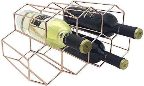 Mazu Homee Banda de metal, 7 botellas de oro rosa, botella independiente de panal de abeja, utilizada para almacenar vino tinto, estante de vino antitino separado, adecuado para armarios, cocina, bar.