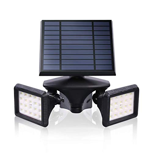 Motion Sensor Solar Light Outdoor, Dusk to Dawn Wireless Security LED Flood Light, 6000K Very Bright, Solar Powered Landscape Spotlights Waterproof for Garden/Driveway/Porch, EMANER (1-Pack)