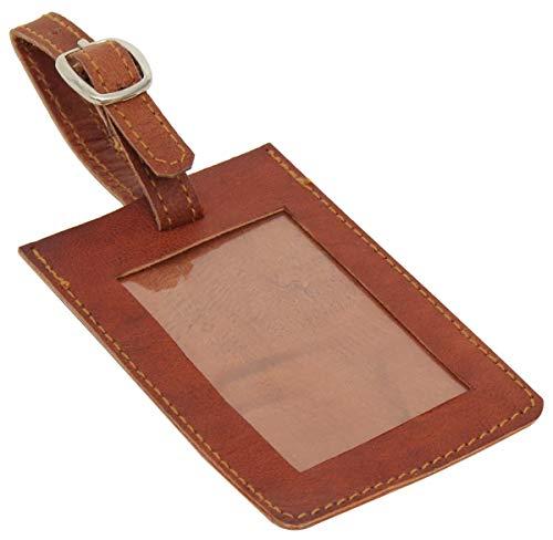 Kofferanhänger Gepäckschild Gepäckanhänger Vintage Braun Leder