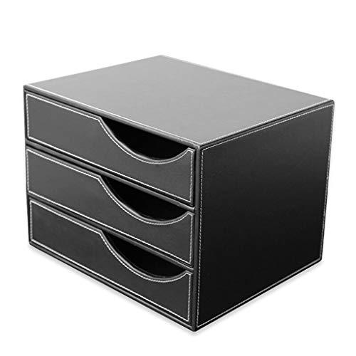LYLY Sujetalibros archivador de archivos, cesta de cuero, suministros de oficina de tres niveles, caja de almacenamiento de datos de negocios (color: negro, tamaño: B)