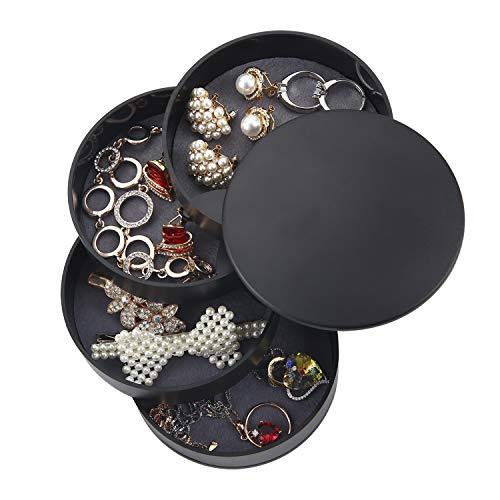 Ulikey Caja Joyero Organizador Rotación de 360°, Joyero de 4 Capas Redondos, Joyero Organizador Viaje Mujer Niña, Joyero Jewelry Organizer Pequeña para Anillos, Aretes y Collares (Negro)