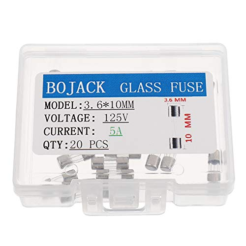 BOJACK Mini Fuse 3.6x10mm 5A 5amp 125V 0.14x0.39 Inch F5AL125V Fast-Blow Glass Fuses(Pack of 20 Pcs)