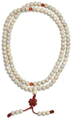 BUDDHAFIGUREN Cadena de oración budista - Collar - Semillas de loto 9 mm en conjunto con dorje y bolsa