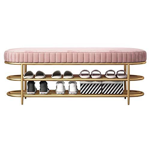 WHOJA Zapatero Marco de Metal Almacenamiento de 2 Capas Diseño de Arco Asiento tapizado cómodo Capacidad de Carga 150 kg Estantería (Color : Pink, Size : 100cm/39.4in)
