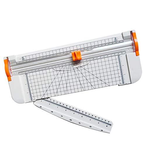 Papierschneider - A4 Papier Cutter Trimmer Grußkarten & Foto Schneidegerät mit Fingerschutz und Gleitlineal Design Schneidet bis zu 12 Blattes Grußkarte Machen Werkzeuge (White)