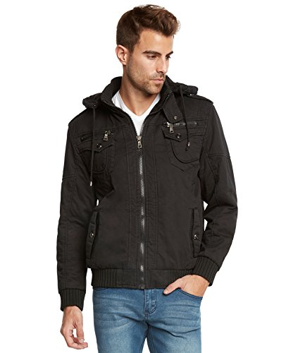 Maximos Men's Sherpa Lined Sahara Hooded Multi Pocket Bomber Jacket-Black-XL