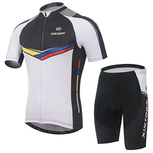 Baymate Hommes Confortable Maillot Cyclisme Manche Courte avec Séchage Rapide Pantalon des Sports