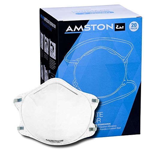 Amston Model 1808 N95 Folded Dust Masks (20 count), CDC and NIOSH Certified Disposable Particulate Respirators