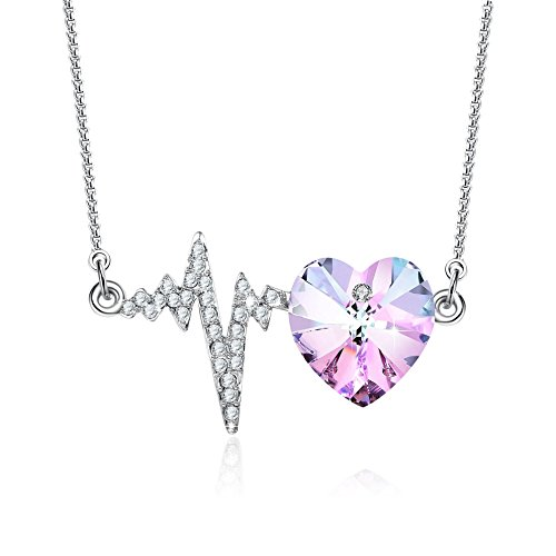 """❤️Mother's Day Gift❤️""""The Crush""""Purple Heart Pendant Necklace with Swarovski Crystals Love Heartbeat Birthday Wedding Anniversary Jewelry for Girlfriend Wife"""