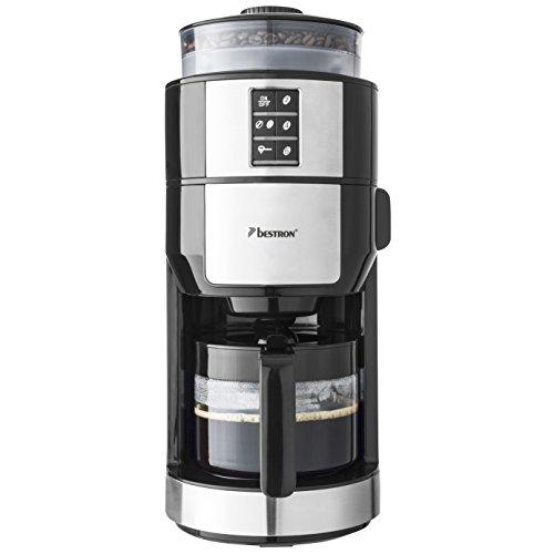 Bestron Kaffeemaschine mit Mahlwerk und Filterfunktion, 6 Tassen, 820 Watt, Schwarz
