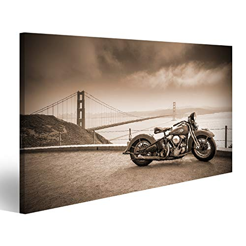 Bild Bilder auf Leinwand Harley Davidson Hog in San Francisco Bay Wandbild, Poster, Leinwandbild JZK