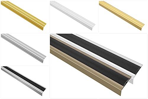 Effector Profilo per gradini in alluminio anodizzato, protezione per bordi delle scale, (A40 Champagne), protezione bordi in alluminio antiruggine