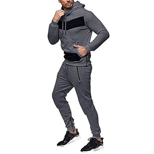 Homebaby Tuta Sportiva da Uomo Caldo Felpe con Cappuccio Tasca Pantaloni Set Tuta da Ginnastica Autunno Inverno Vello Tops Yoga Corsa Opaco Tumbler Pullover Maglione Aportivo