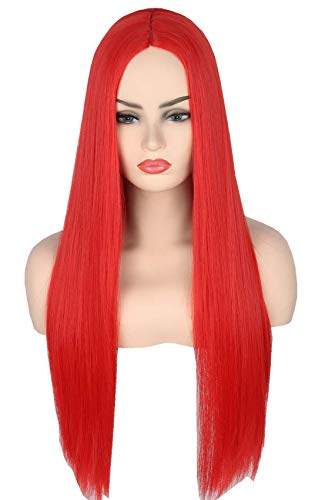 Topcosplay Peluca Larga Negra para Mujer Cosplay Morticia Peluca Halloween Carnaval Pelucas (Rojo)