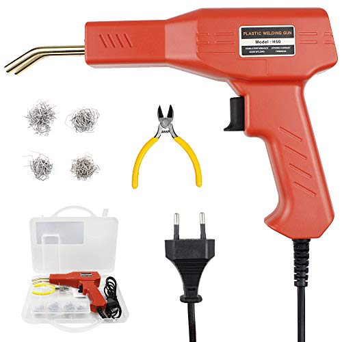 50W Hot Stapler,máquina de soldadura de parachoques de coche de plástico 220 V con 200 piezas de grapas,Pistola de reparación de soldador para la eliminación de abolladuras PVC grietas plástico