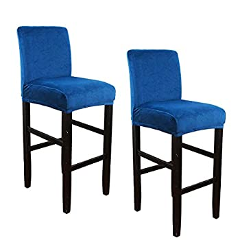 WOMACO Bar Stool Cover Stretch Counter Stool Pub Chair Slipcover with Back Velvet Plush Cafe High Barstools Chairs Protector for Kitchen Dining Room  Blue Set of 2