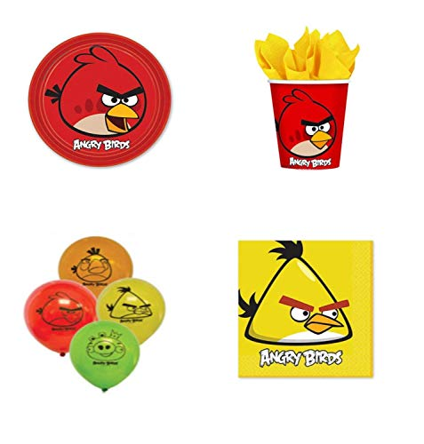 Angry Birds Birthday Party Supplies Set : Plates Napkins Cups Balloons for 8 Guests