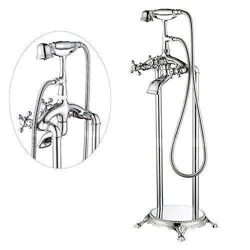 ZJINHUI Vintage Tub Filler, Freistehende Bodenmontage Badewanne Wasserhahn Zwei Griffe Mischer-Hahn mit Handdusche Chrom-Finish