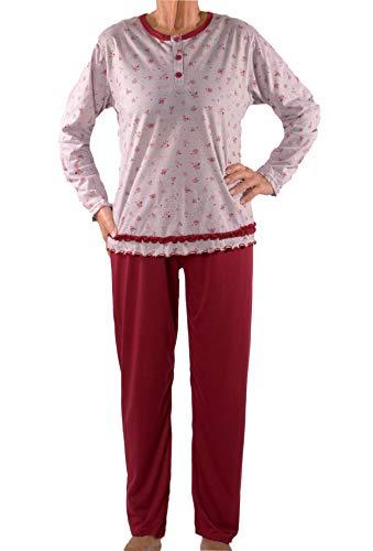 Seniorenmode24 Damen Senioren Oma Schlafanzug mit Blumen kuschelig weich aus Baumwolle Hose mit Gummizug ideal für pflegebedürftige Omas einfach anzuziehen und super pflegeleicht (grau/rot, 42/44)