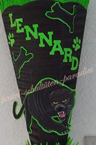 Generisch Bastelanleitung Panther schwarz-hellgrün (nur Motiv)