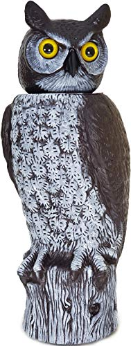 Gardeneer by Dalen Natural Enemy Scarecrow 360º Rotating Head Owl Decoy - 18-Inch Hand-Painted Fake Owl to Keep Birds Away - Realistic Pest and Bird Deterrent Owl
