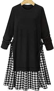 Wwucaihufafa Large size women's round neck stitching plaid long-sleeved tunic dress (Color : Black, Size : 4XL)