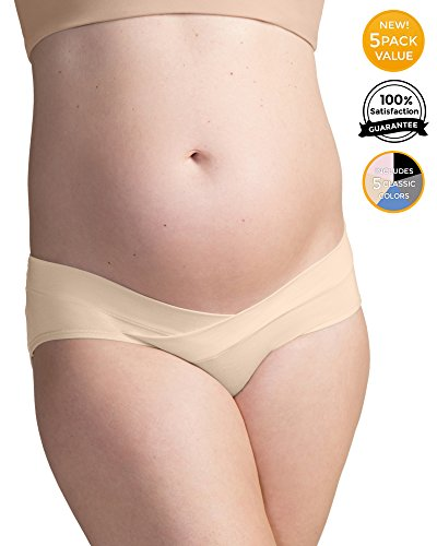 Image of Kindred Bravely Under The Bump Maternity Underwear/Pregnancy Panties - Bikini 5 Pack (Large Assorted)
