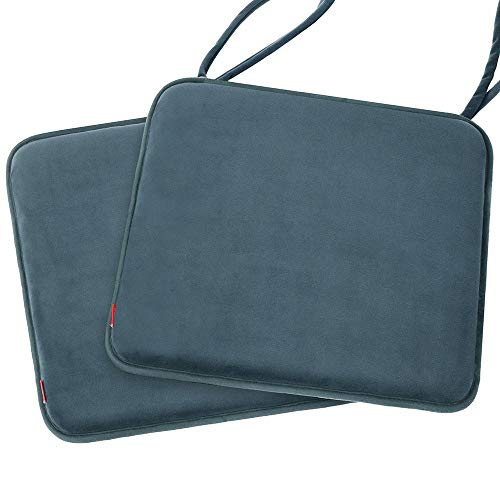 baibu 2 PCS Memory Foam Seat Cushion Non Slip Dinging Chair Pad with Ties - 40cm x 40cm - 2PCS Velvet Grey