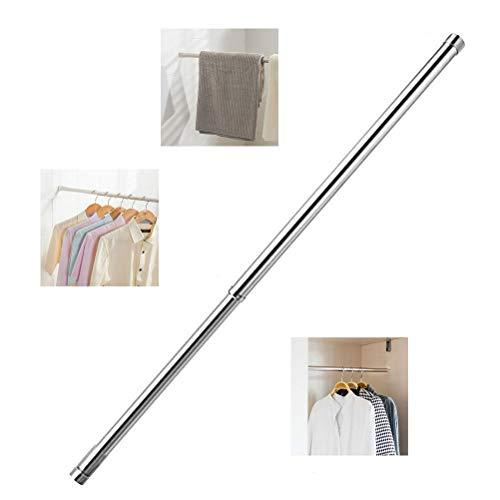 kuou Varilla extensible para armario de 25 mm, hecha de acero inoxidable con enchufes finales (40 cm a 69 cm)