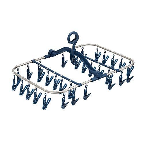 天馬 洗濯物ハンガー ポーリッシュ ピンチが割れにくいステンレス角ハンガー ピンチ32個付き ネイビー 約27×52×37cm PL-29