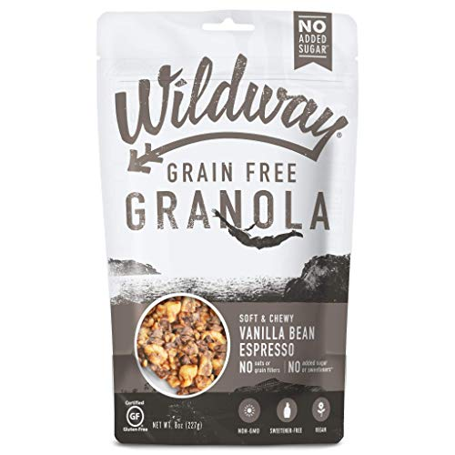 Wildway Vegan Granola | Vanilla Bean Espresso Granola | Certified Gluten Free Granola Breakfast Cereal, Low Carb Snack | Paleo, Grain Free, Non GMO, No Added Sugar | 8oz