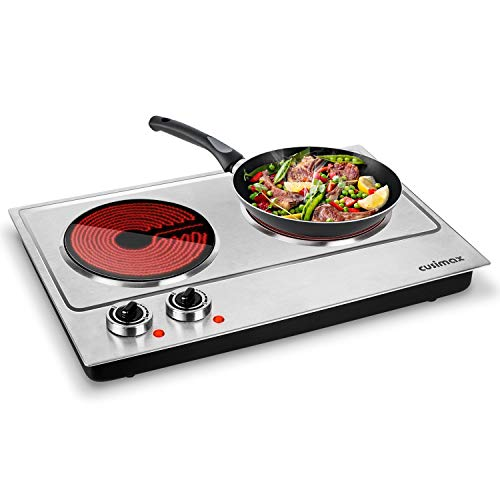 Cusimax Hot Plate, Ceramic Electric Double Burner for Cooking, 1800W Infrared Cooktop, Glass Electric Stove with Adjustable Temperature & Non-Slip Rubber Feet, Stainless Steel Upgraded Version, Compatible w/All Cookware