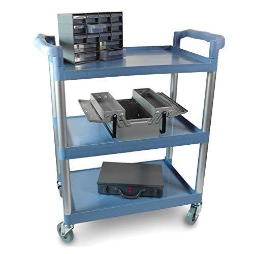 Multifunktionaler Rollwagen für Transport und Lagerung mit drei Ebenen, zwei Griffen und Gummirollen - stabil und robust