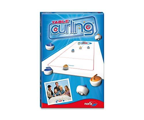 Noris 606171432 Table Curling das weltbekannte Spiel für Zuhause, mit faltbarem Spielfeld der Größe 120 X 40 cm, ab 6 Jahren