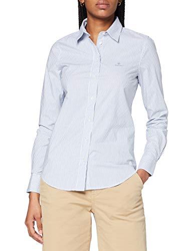 GANT Damen Banker Stripe Stretch Broadcloth Bluse, MID Blue, 46