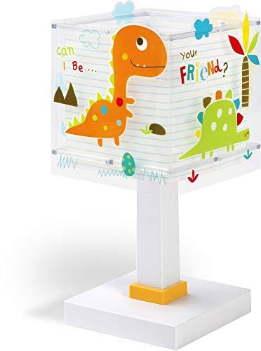 Dalber Lámpara de Mesilla Infantil Dinosaurios Dinos E14, Multicolor
