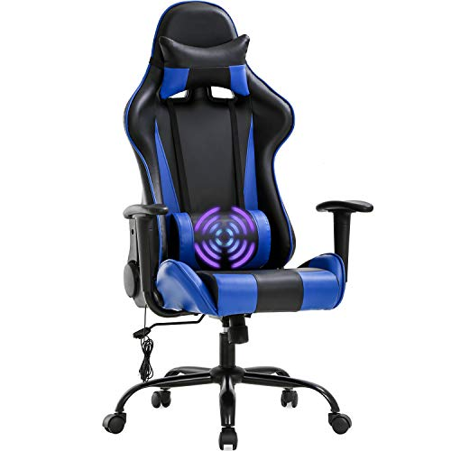 Gaming Chair Massage Office Chair Racing Desk Chair High Back PU Leather Executive Rolling Task Adjustable Computer Chair with Lumbar Support Headrest Armrest Swivel Chair, Blue blue chair gaming