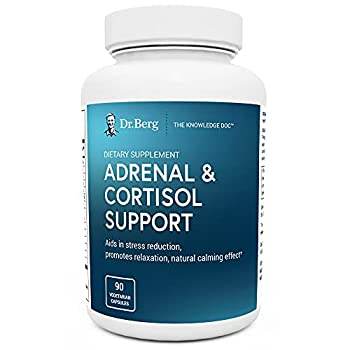 Dr Berg's Adrenal & Cortisol Support Supplement - Natural Stress & Anxiety Relief for a Better Mood Focus and Relaxation - Turn Off Your Busy Mind - Vegetarian Ingredients 90 Capsules  1 Pack