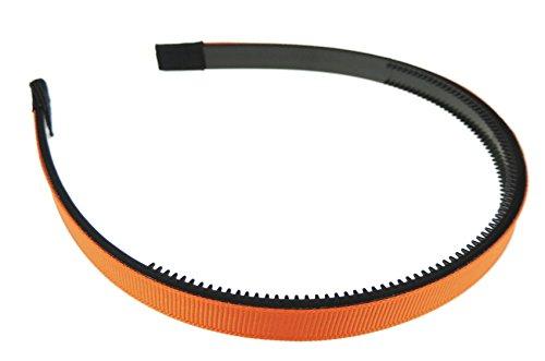 Meisjes dames satijn Ribbed Ribbon 1cm zwart bedekt hoofdband Alice Band Eén maat Orange Black