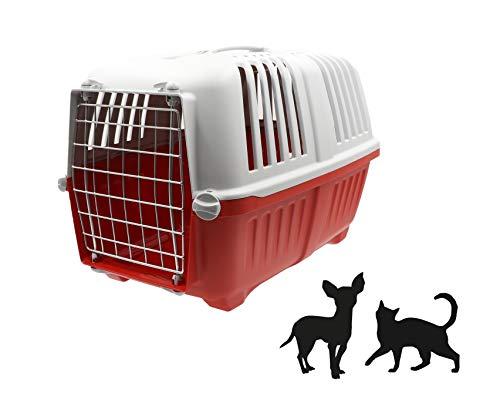 AIME Caisse de transport PRATIKO pour Chien et Chat en Plastique, 48 X 31 X32 CM, Porte en métal, Coloris Aléatoire