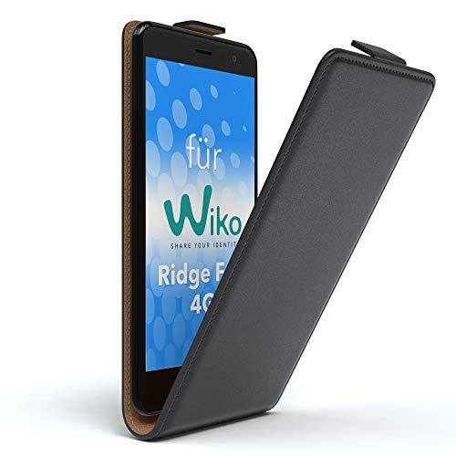 EAZY CASE WIKO Ridge Fab 4G Hülle Flip Cover zum Aufklappen Handyhülle aufklappbar, Schutzhülle, Flipcover, Flipcase, Flipstyle Hülle vertikal klappbar, aus Kunstleder, Schwarz