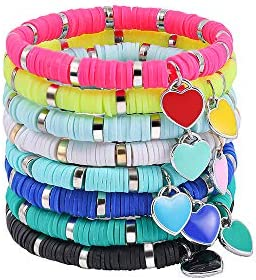 Sloong 8PCS Heishi Bracelet Set Stack Rainbow Bead Stretch Polymer Clay Vinyl Discs tiny heart product image