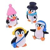 ガーデンオーナメントアウトドア4個/セットミニチュア冬服ペンギン盆栽オーナメントミニかわいい動物マイクロランドスケープホームガーデンデコレーション