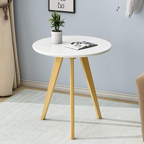 Mesas para lámparas Mesa Lateral Pequeña Ronda Sofá Mesita, Madera Extremo pequeño Mesa de café, con Patas de Madera sólida, diámetro 40 cm, for la Sala de Estar y de Oficina (Color : White)