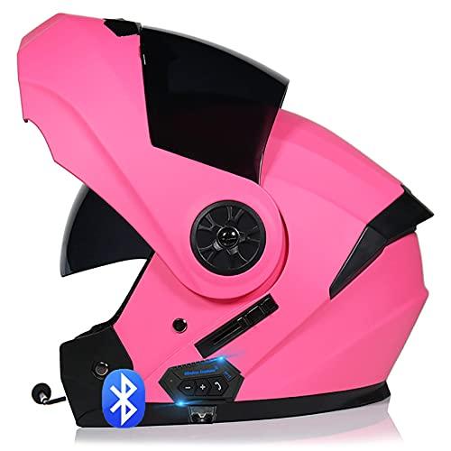 Bluetooth Integrado Casco de Moto Modular con Doble Visera Intercomunicación Sistema de Comuni Cascos de Motocicleta Adultos Unisex ECE Homologado C,XL=61~62cm