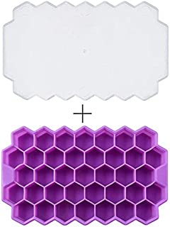 Hovico Ice Cube Trays with Lids,BPA Free Honeycomb Ice Cube Tray 37 Cubes Silicone Ice Cube Maker Mold,Ice Cream Party Whi...
