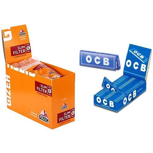 Gizeh Slim Filter sechs mm mit Klebefläche (20 x 120 Stück) & OCB Blau Kurz - Rolling Papers - Drehpapier - Blättchen -25 Heftchen a 50 Blatt
